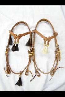 Heavy 5/8 Harness Leather Headstall with Horsehair Tassels