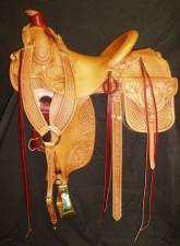 Dean Oliver Roper with 7 panel basket/floral tooling and matching saddle bags/breast collar. Made by David Rigby