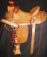 Wade Style Saddle. Inskirt Rigging. Smooth out plain. Made for Dusty Hinks. Made by Kent Frecker