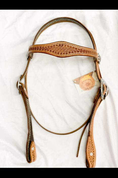 Geometric Stamped Single Scalloped Headstall