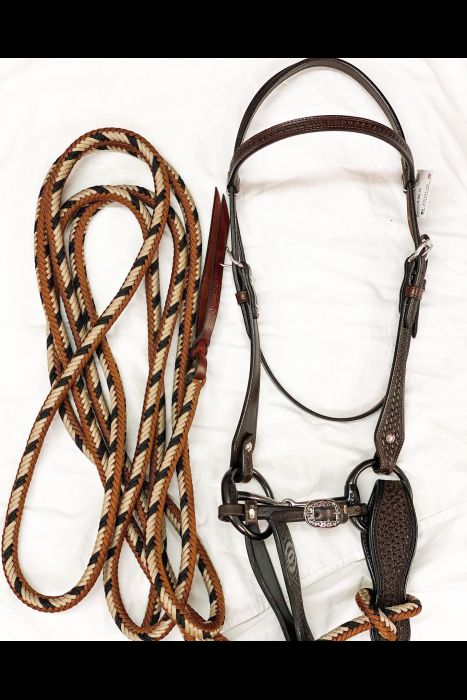 Straight Browband Basket Stamped Headstall