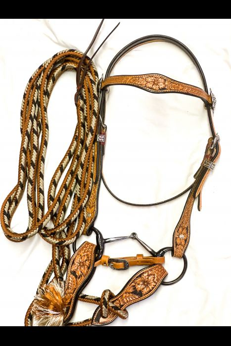Tooled Bridle Set with Basket Stamped