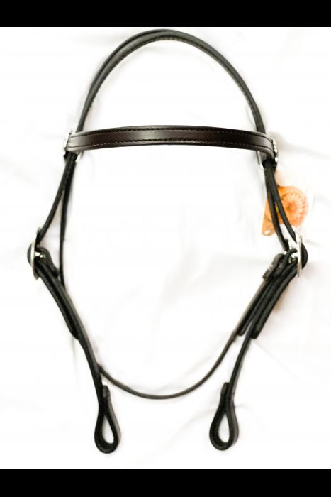 """Dark Brown 3/4"""" Straight Headstall   Another View"""