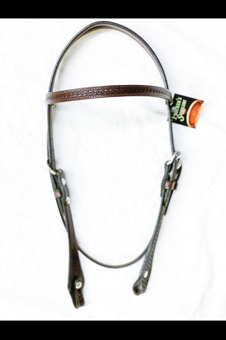 5/8 Dark Brown Basket Stamped Headstall