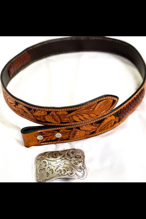 Tooled Belt with Kangaroo Lace | Another View