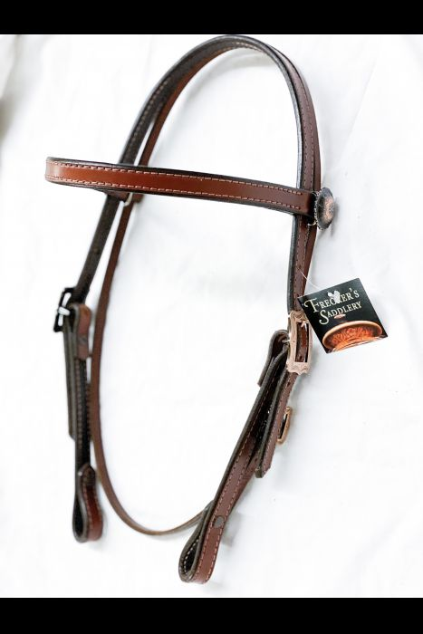 Dyed Edge 3/4 Headstall with Copper Buckles | Another View
