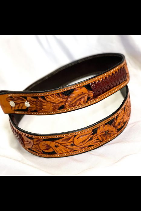 Tooled Belt with Kangaroo Lace