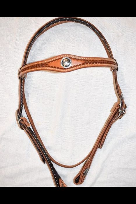 Single Scalloped Browband Headstall with Flower border and Concho