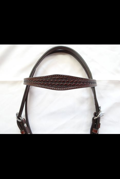 Basket Stamped Leather Headstall | Another View