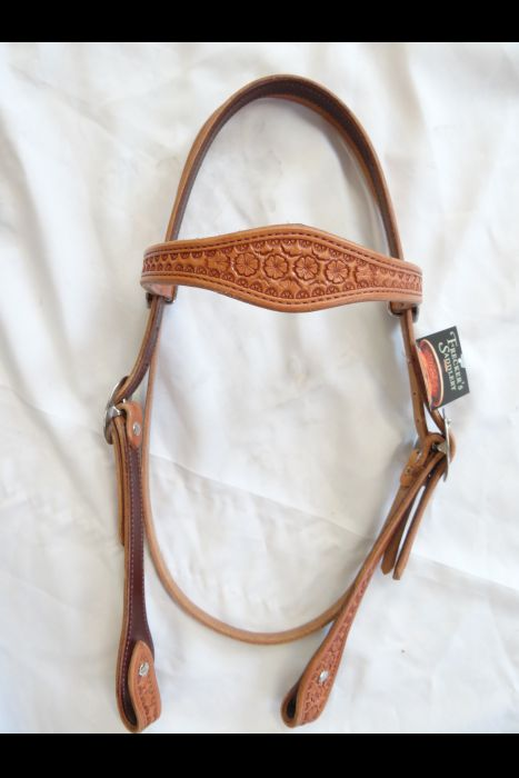Single Scalloped Daisy Stamped Browband Headstall