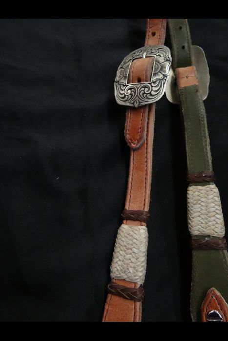 Harness Bridle with Rawhide Buttons | Another View