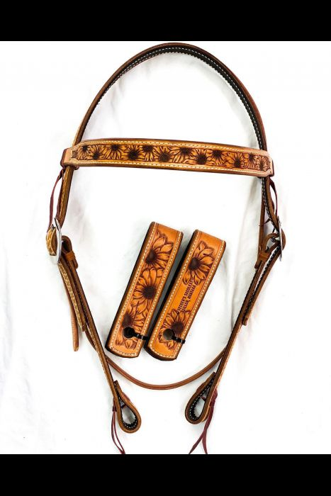 Straight Browband tooled Headstall Set