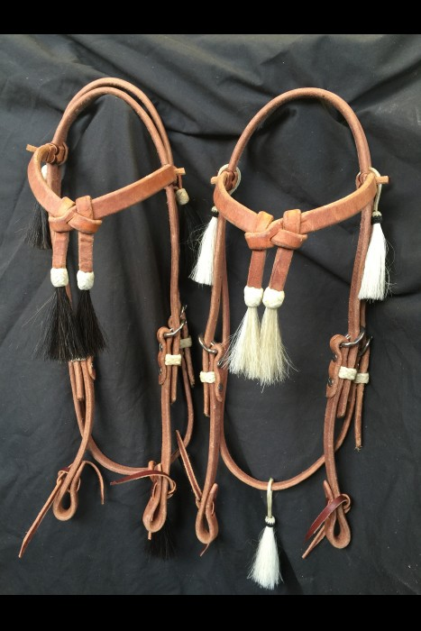 "Heavy 5/8"" Harness Leather Headstall with Horsehair Tassels"