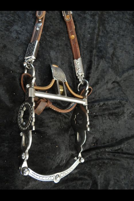 Spade Bit Bridle with Bit Hangers & Matching Bit   Another View