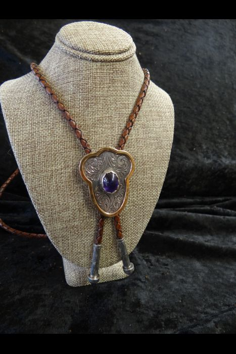 Silver Engraved Bolo Tie with Purple Stone set