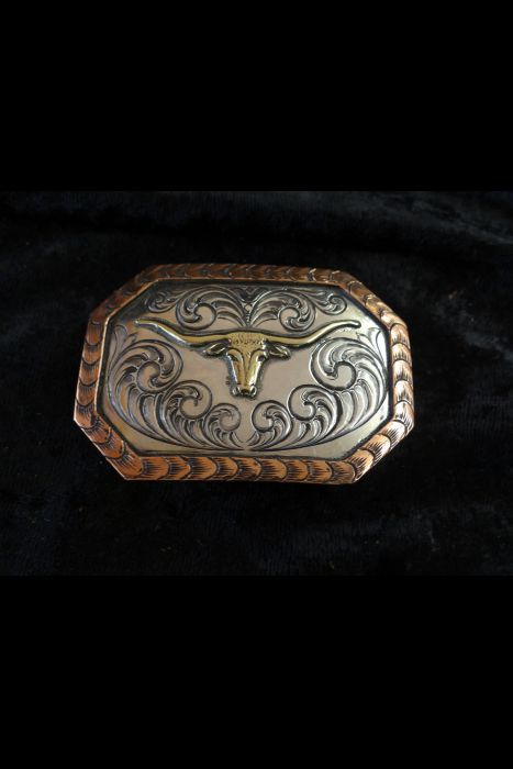 Silver Engraved Buckle with Steer Head