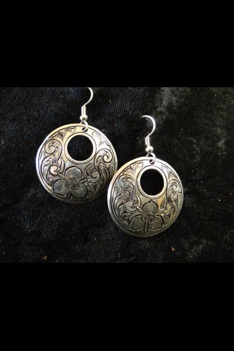 Silver Engraved Earrings With Dogwood Flower #1