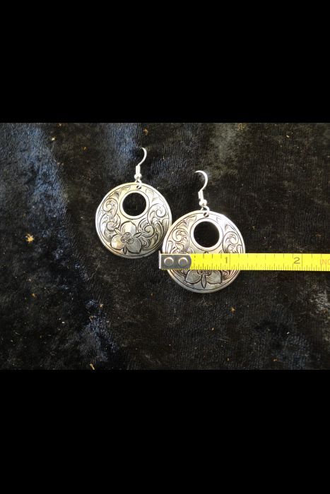 Silver Engraved Earrings With Dogwood Flower #1 | Another View