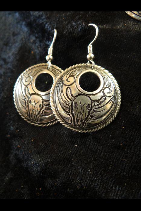 Silver Engraved Earrings with Steer Head #2