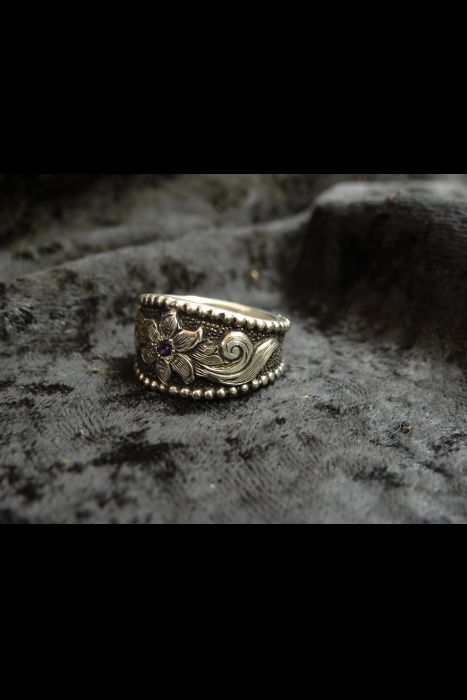 Silver Engraved Ring #10