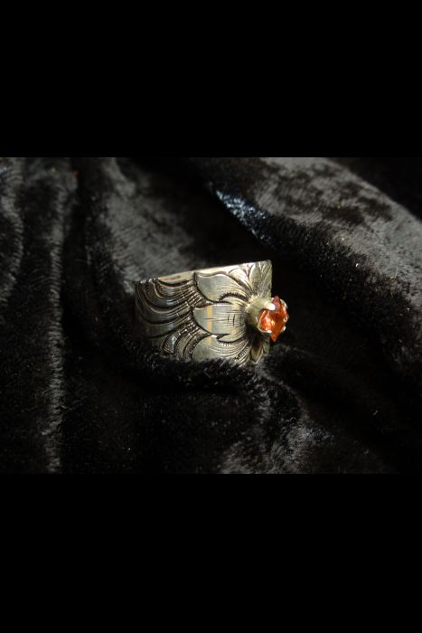 Silver Engraved Ring with Orange Stone #8   Another View