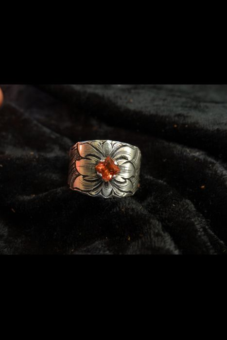 Silver Engraved Ring with Orange Stone #8