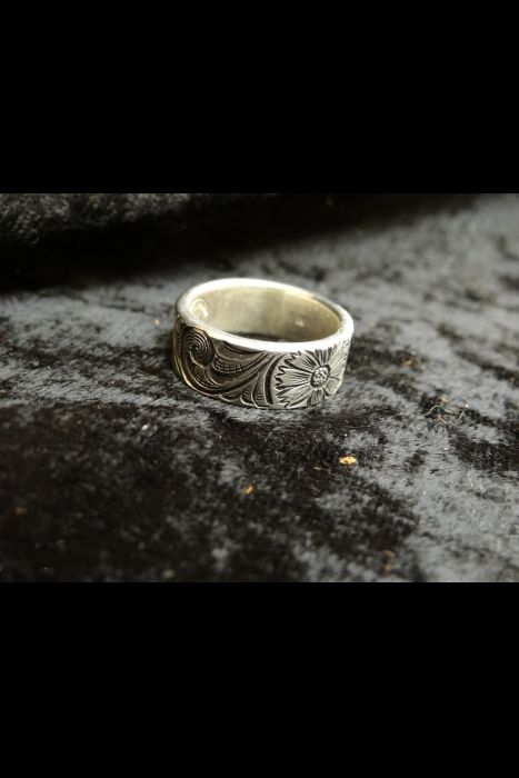 Silver Engraved Ring #24