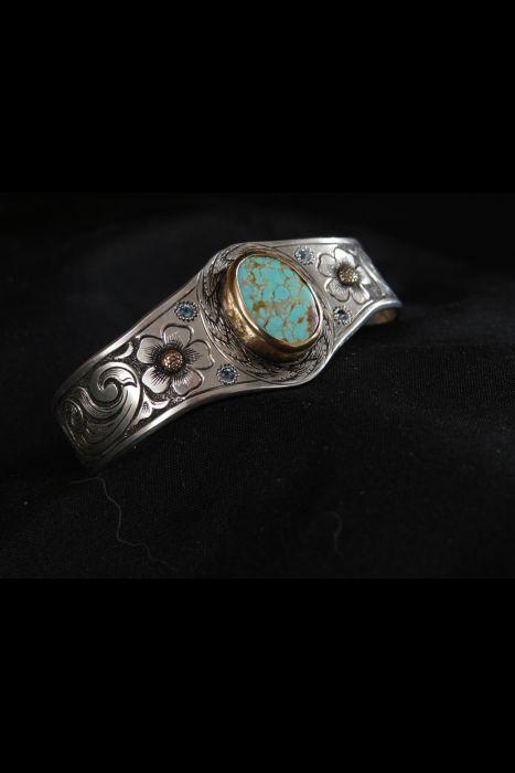 Silver Engraved & Turqouise Bracelet