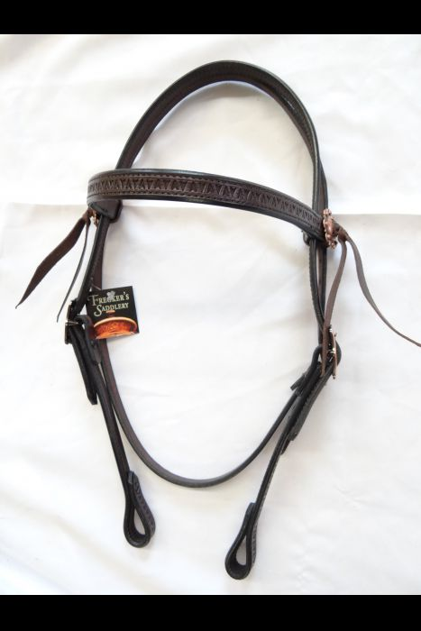 Dark Brown Stamped Straight Bridle