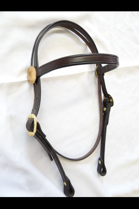"Dark Brown 3/4"" Straight Headstall 