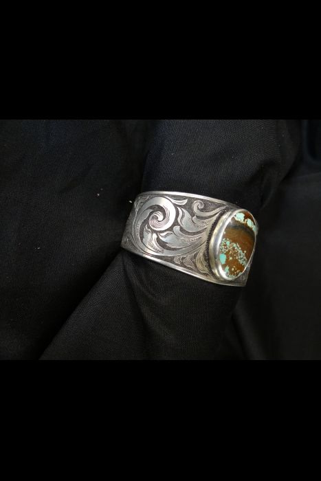 Silver Engraved Turquoise Cuff | Another View