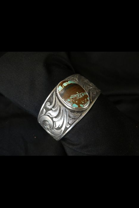 Silver Engraved Turquoise Cuff