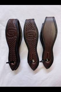 English Dark Brown Leather Scalloped Slobber Straps