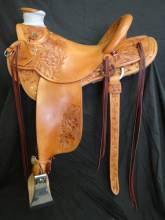 3/4 Tooled wild rose saddle