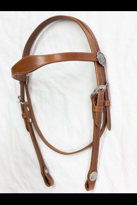 Single Scalloped Chestnut Headstall | Another View