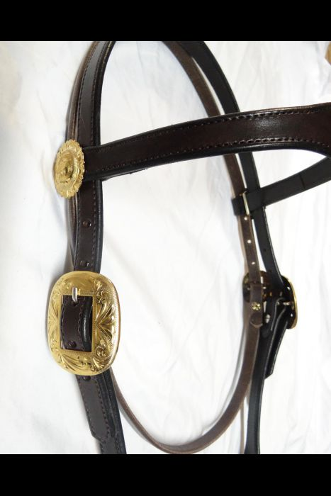 Dark Brown Headstall with Slobber Strap | Another View