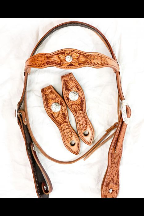Tooled Double Scalloped Bridle