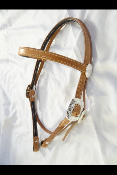 3/4 Browband headstall with Silver.