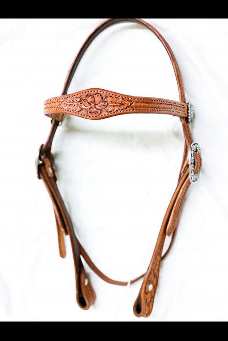 Tooled Single Scalloped Headstall