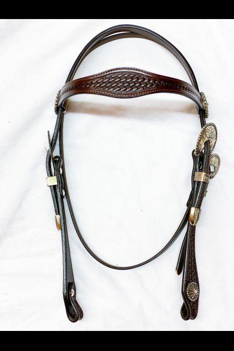 Single Scalloped Dark Basket Stamped Headstall