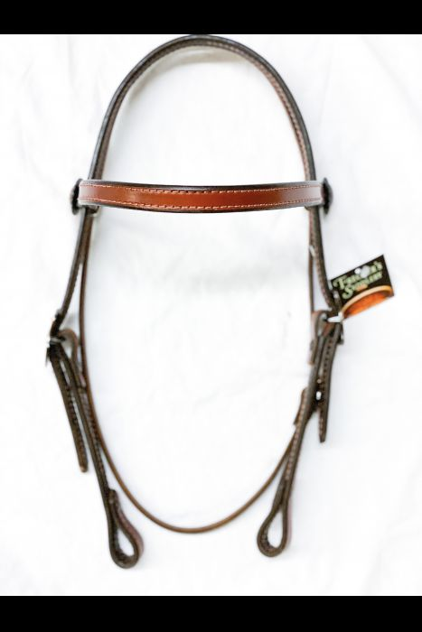 Dyed Edge 3/4 Headstall with Copper Buckles