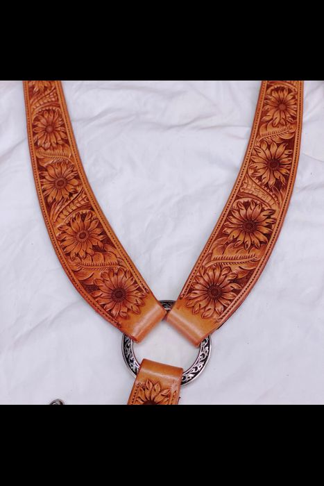 Sun Flower Tooled Martingale | Another View
