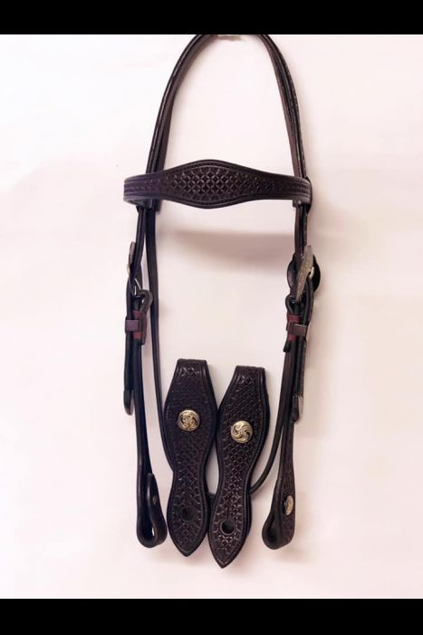 Dark Stamped Bridle With Blued Conchos