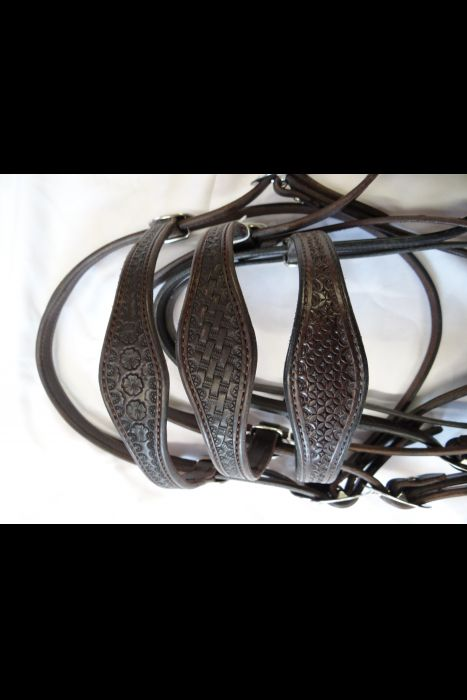 Dark Brown English Scalloped Headstall | Another View