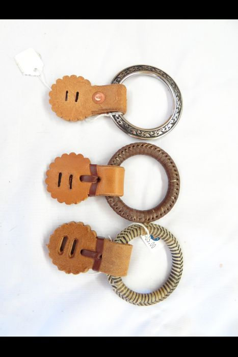 Braided Kangaroo Leather or Raw Hide Hobble Ring w/ Leather Attachment