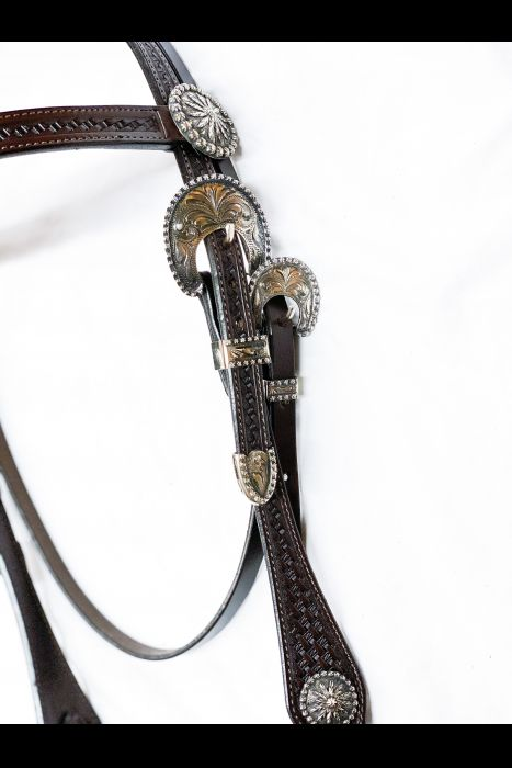 Single Scalloped Dark Basket Stamped Headstall | Another View