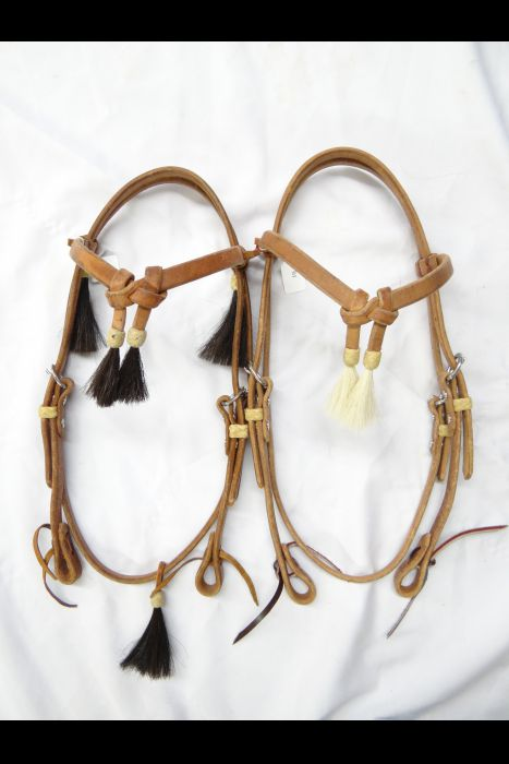 """Heavy 5/8"""" Harness Leather Headstall with Horsehair Tassels"""
