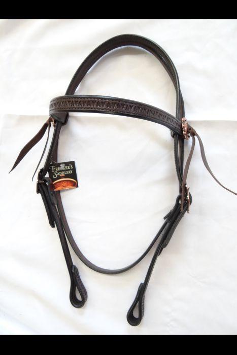 Dark Brown Stamped Straight Bridle