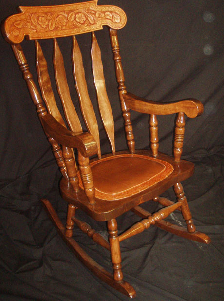 Superieur Leather Tooled Rocking Chair